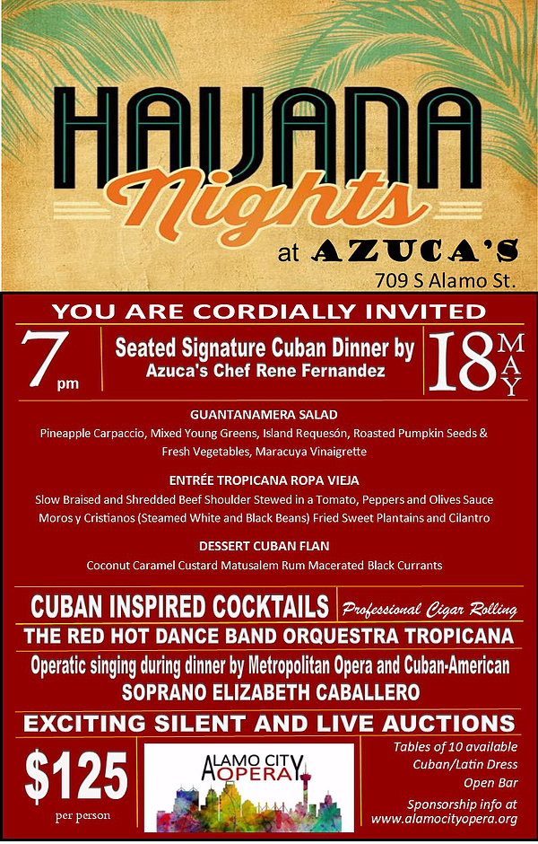 Flyer for Havana Nights at Azuca's benefit for Alamo City Opera